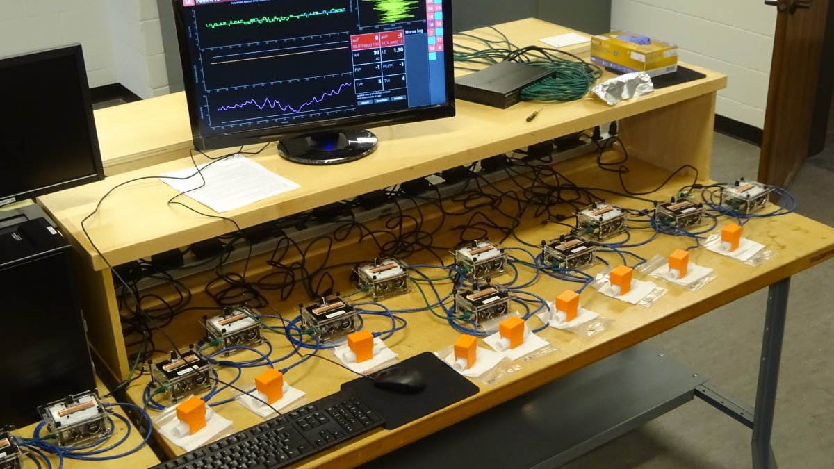 Initial tests with multiple patient box controllers and flow blocks (sensors).